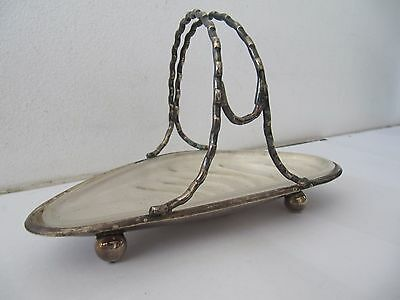 Silver Plated Basket Dish Muscle Shell Shape Glass Liner