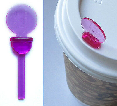 Coffee Cup Lid Stopper Sip Hole Plug Stix To Go Purple Pack of 25