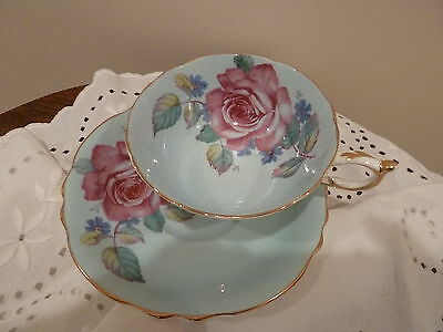 PARAGON Bone China Cup & Saucer Pink Rose on Pale Blue England