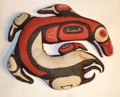 Antique Northwest Coast Haida American Indian Trade Cloth Hand Made Pillow Birds