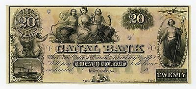 1800's $20 The Canal Bank - New Orleans, LOUISIANA Note CU