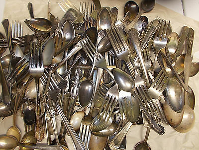lot silverplate flatware 100 pieces  craft scrap spoons forks etc, NO KNIVES