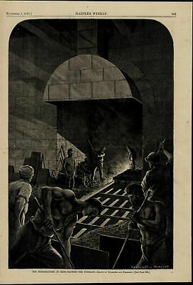 Iron Manufacture Tapping Furnace Men Working wonderful 1873 unusual old print