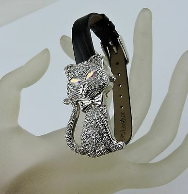 "Women's ""gossip Watch"" Sparkling Bling Crystal Aurora Borealis Eyes Cat Kitten"