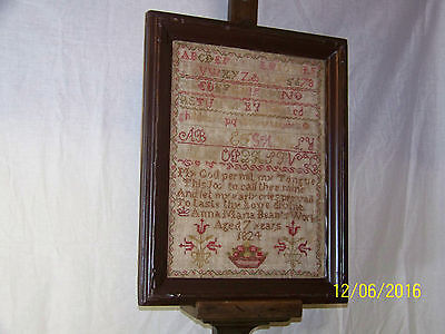 c1824 Early American Sampler ABCs, Numbers, Figures Professionally Framed
