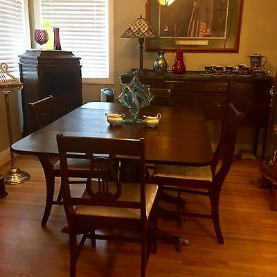 "25""-47"" Antique Vintage Mahogany Drop Leaf Dining Room Pedestal Table w/4 chairs"