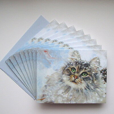16 Maine Coon Cat CHRISTMAS CARDS & Envs ~ Delightful Fluffy Tabby Cat in Snow
