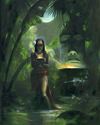 THE TIKI GODDESS! Mike Hoffman Giclee Stretched Canvas Print!