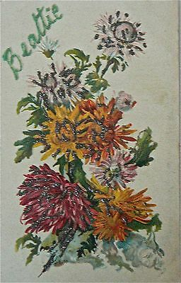 Vintage Postcard-Greetings.for Beattie.glittered Card.marked 1908.embossed Card