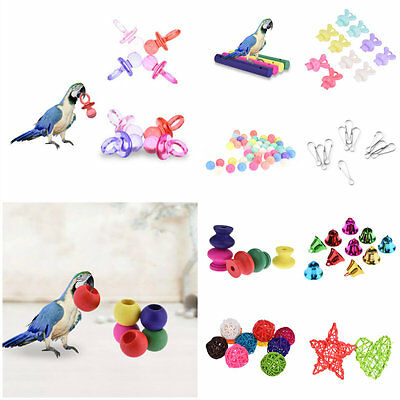 Various Parrot Bird Toy Parts DIY Accessory Cage Perch Swing Toys Making Craft