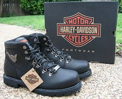 NEW Men's Harley Davidson Glenmont Black Leather Lace-Up Motorcycle Boots D93306