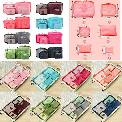 New 6Pcs Travel Clothes Storage Bags Suitcase Luggage Organizer Pouch Any Color