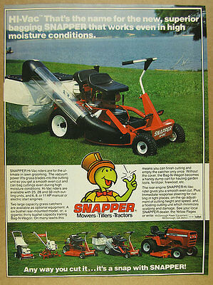 1980 Snapper HI-VAC Riding Mower grass catcher photo vintage print Ad
