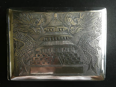 Early 20Th Century China Chinese Export Dragon Solid Silver Case Box