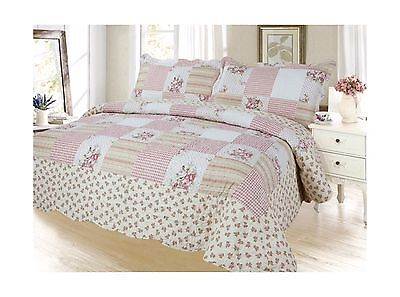 Plaid Printed Bedding 3 Piece / Bedspread Quilt Set King (Corallina Peach) New