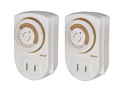 Woods 50006 Indoor 24-Hour Mechanical Outlet Timer 2-Pack 1-pack New