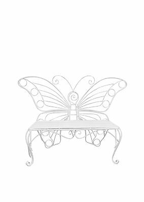 All Line Metal Garden Dcor-Butterfly Bench White Item Size: 60-Inch X 18-... New