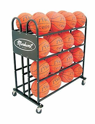 Stag Markwort 32 Ball Capacity Basketball Trolley Black New