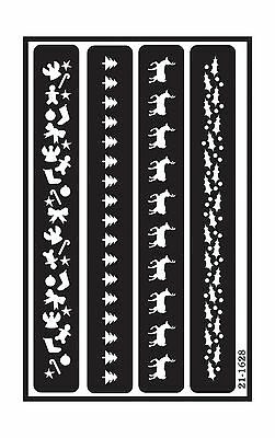 Armour Etch 21-1628 Over N Over Stencil Christmas Borders New