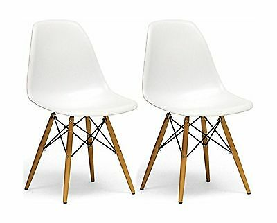 Mod Made Paris Tower Side Chair Wood Leg White Set of 2 New