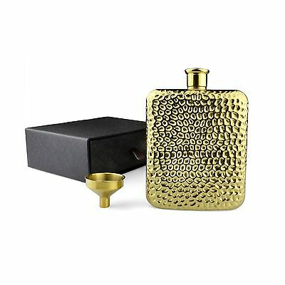 Hip Flask - Gold Plated Flask And Tunnel Set - Hand-Made Hammered Vintage... New
