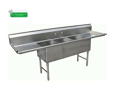 """3 Compartment  Sink 15"""" x 15"""" w/ 2 Drainboards NSF"""