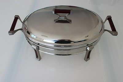 Stainless Steel Chafing Dish / Chafer with Glass Food Tray - 3.0 Litres Oval