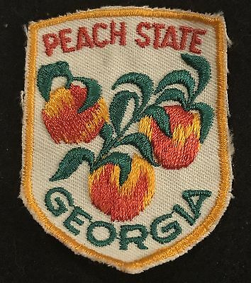 GEORGIA PEACH STATE Vintage Patch State Souvenir Travel VOYAGER Embroidered