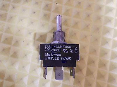 CARLING Switch Toggle ON-OFF-ON DPDT .250 Quick Conn 10A 250V