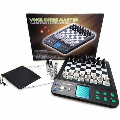 Voice Chess Master Electronic Talking Chess Games Computer Set 8 in 1 Brain Game
