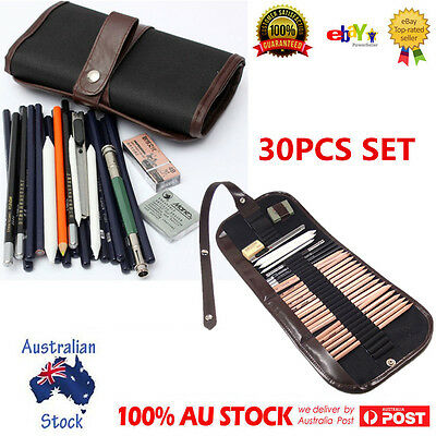 30pcs Drawing Sketch Set Charcoal Pencil Eraser Art Craft Painting Sketching Kit