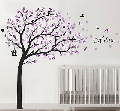 Wall stickers custom name colour xlarge blowing tree bird decal home vinyl kids