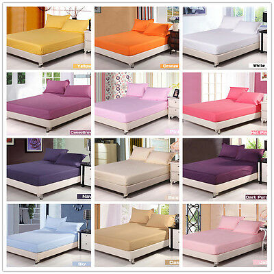 Cotton Solid Fitted Sheet Set Queen/King/Single Double Size Bed Pillow Cases New