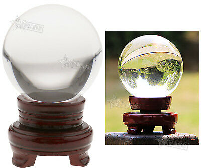 100MM Clear Round Glass Healing Ball & Base Crystal Magic Meditate Sphere Decor