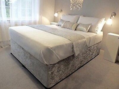 Silver Crushed Velvet Double 4Ft6 Divan Bed With Memory Foam Mattress
