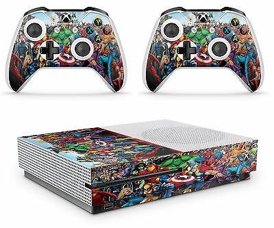 Xbox One S Marvel Console Skin Decal Sticker  + 2 Controller Skins