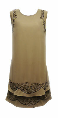 New Retro Vtg 1920's Nude Beaded Gatsby Downton Flapper Charleston Gatsby Dress