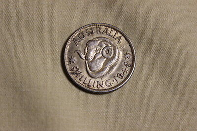 Australia 1944 S - 1 Shilling Silver Coin - King George VI - WWII mintage