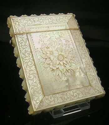 Victorian Deep Carved Mother of Pearl Card Case