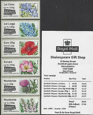 Post & Go 2017 Mint Shakespeare Symbolic Flowers Shakespeares Birthplace Trust