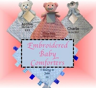 Personalized Embroidered Baby Comforter Security Blanket Teddy Bear Gift Newborn