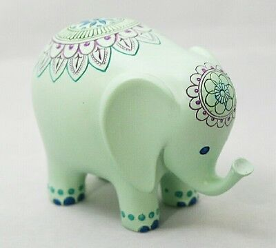 "Light Green Elephant 3x5"" Carved Wood Painted Figurine Lucky Animal Gift"
