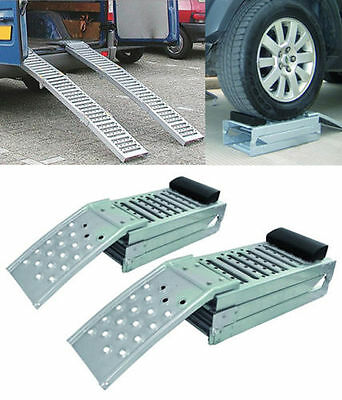 Set of 2 Fold able Steel Car Ramps. 2 Tonne Ramps. Car Ramp (colour silver)