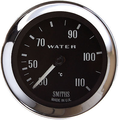 Smiths 30-110˚C Mechanical Water Temp Gauge 52mm, Black face, Chrome Bezel 78""