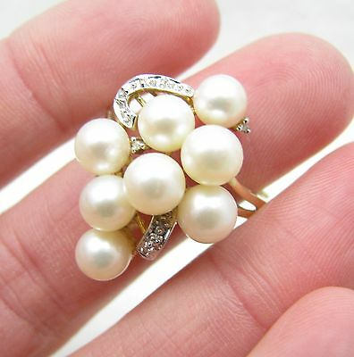 14k Yellow Gold Diamond & Pearl Cluster Cocktail Ladies Ring Sz 10 -5.8g-