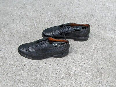 Vintage Slater Black Leather Men's Wingtip Shoes. Size 8