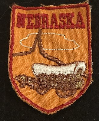 NEBRASKA Vintage Patch State Wagon Scooner Souvenir Travel VOYAGER Embroidered
