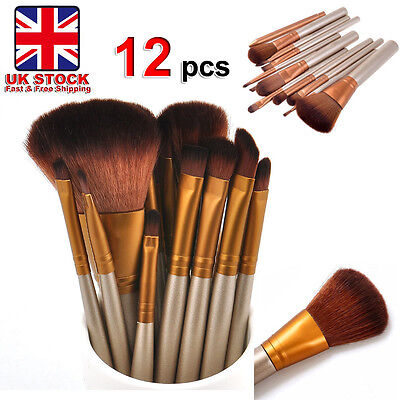 12 pcs Kabuki Style Pro Make up Brushes Brush Set Makeup Foundation Blusher #e