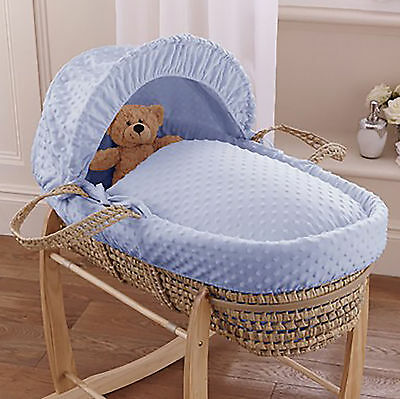 New Clair De Lune Blue Dimple Palm Baby Boys Moses Basket & Safety Mattress