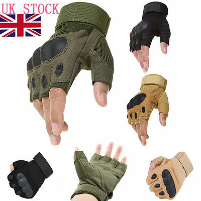 UK Men Half Finger Tactical Outdoor Military Climbing Airsoft Cycling Gloves